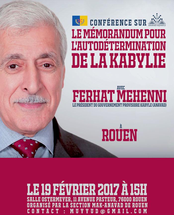 ◉ WEBCAST LIVE : Conférence de Ferhat Mehenni à Rouen