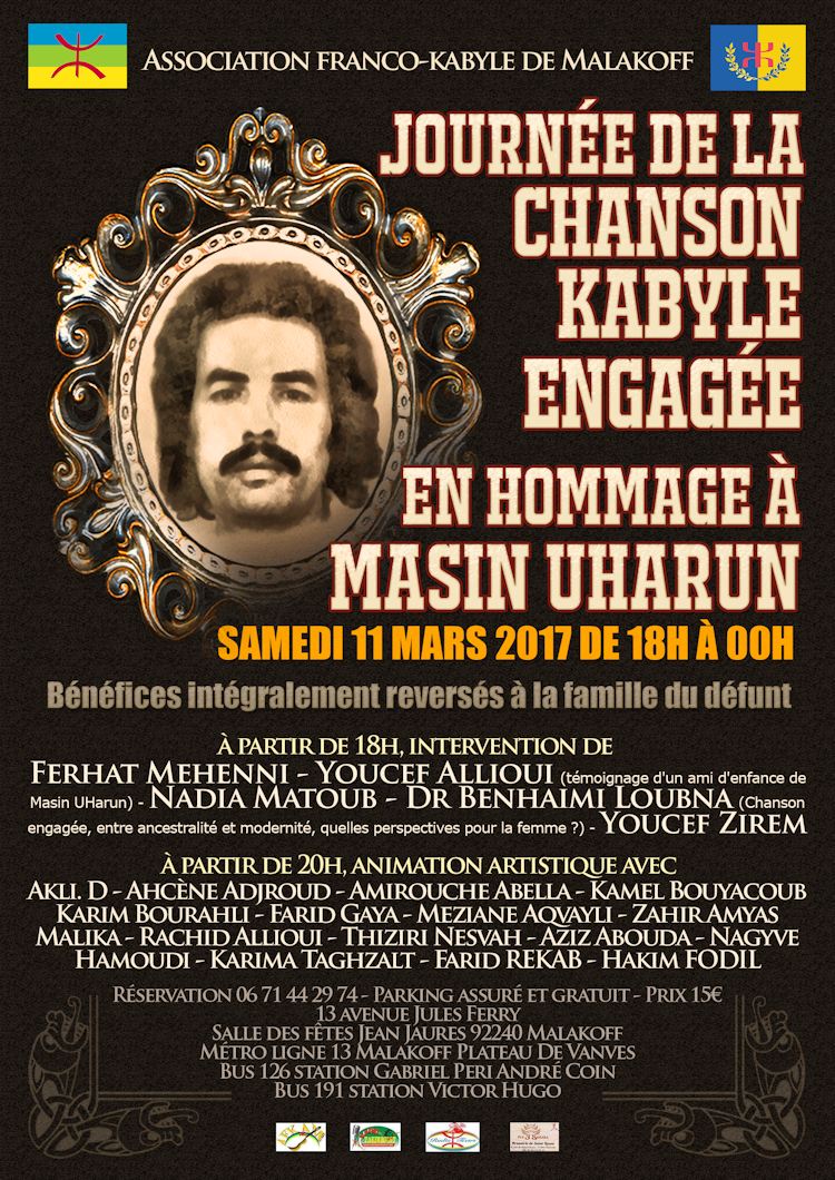 Agenda : grand hommage à Masin Uharun à Paris le 11 Mars