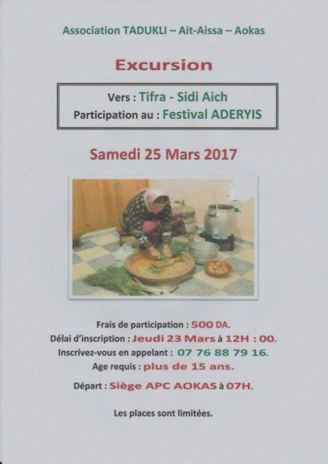 Agenda : Excursion vers Tifra dans le cadre du festival Aderyis