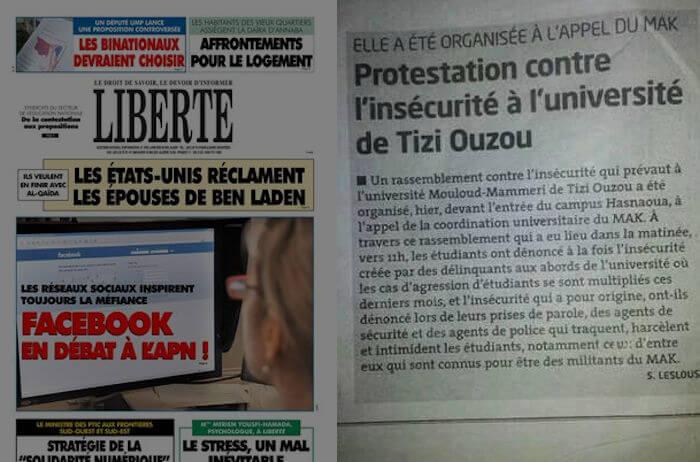 Le journal algérien Liberté parle du rassemblement de la Coordination Universitaire MAK-Anavad de Tizi Wezzu
