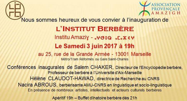 Evènement : Inauguration de L'institut Berbère à Marseille ce 03 Juin