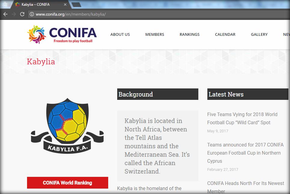 La Kabylie admise à la ConIFA, l'alternative de la FIFA