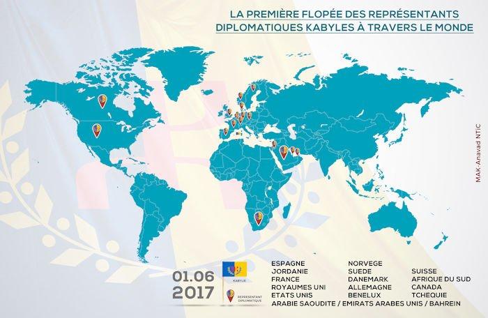 Infographie : La première flopée des représentants diplomatiques kabyles à travers le monde