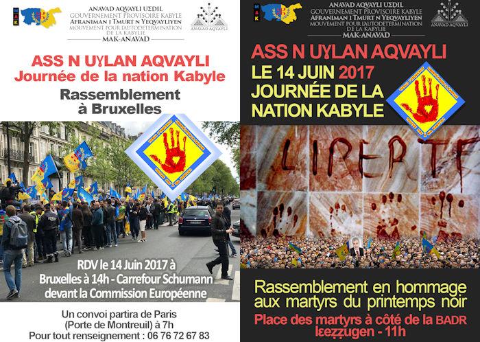 Journée de la nation kabyle : Les affiches officielles des rassemblements d'Iɛeẓẓugen et de Bruxelles
