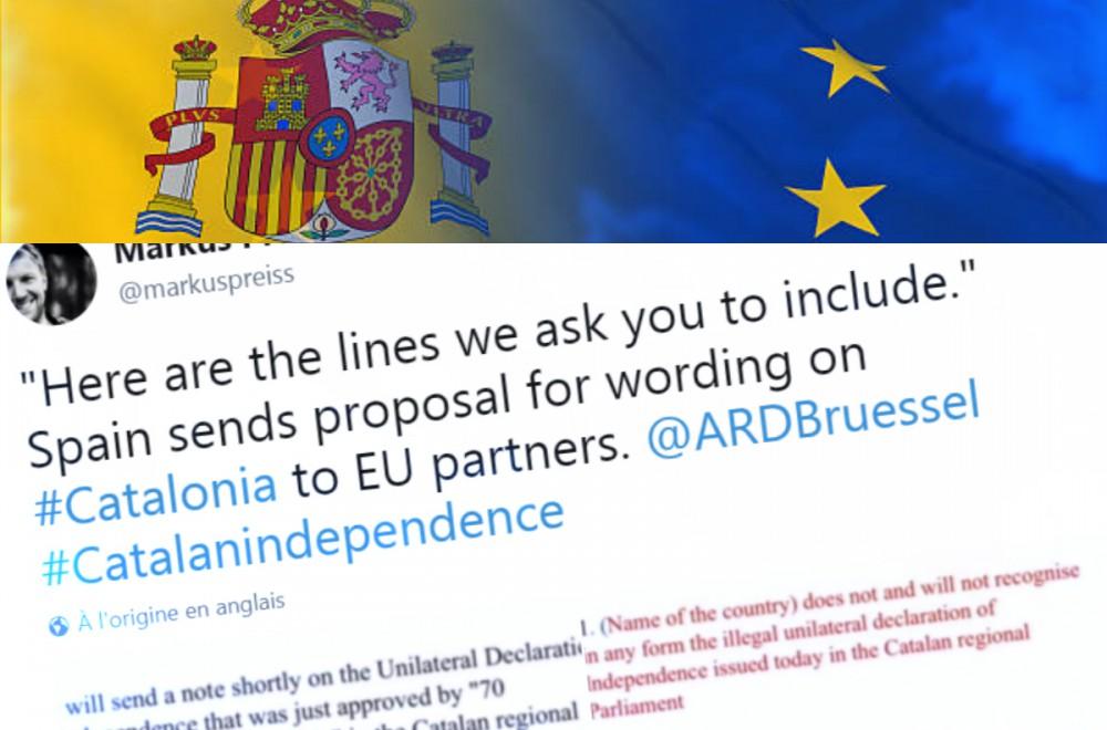Catalogne : le copier-coller demandé par l'Espagne à ses partenaires de l'UE