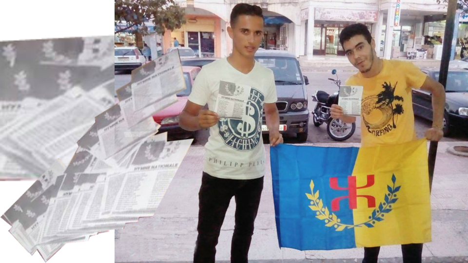 Sedduq : Distribution de tracts de l'hymne national kabyle