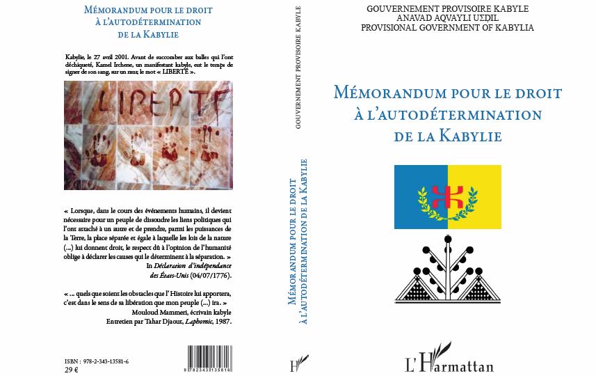 L'Harmattan publiera vendredi 24 novembre le Mémorandum pour le droit à l'autodétermination de la Kabylie