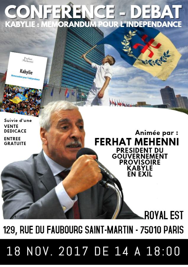 Conférence-débat avec dédicace du livre «Kabylie, Mémorandum pour l'indépendance»