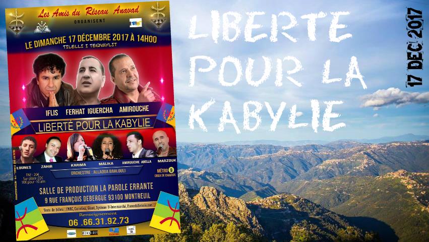 Ouverture des ventes de billets pour le Meeting-Gala «Liberté pour la Kabylie» du 17 décembre