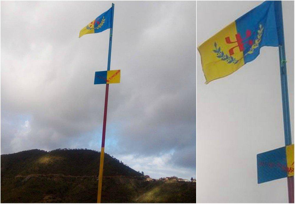 Lever du drapeau kabyle au village de Tivuεlamin