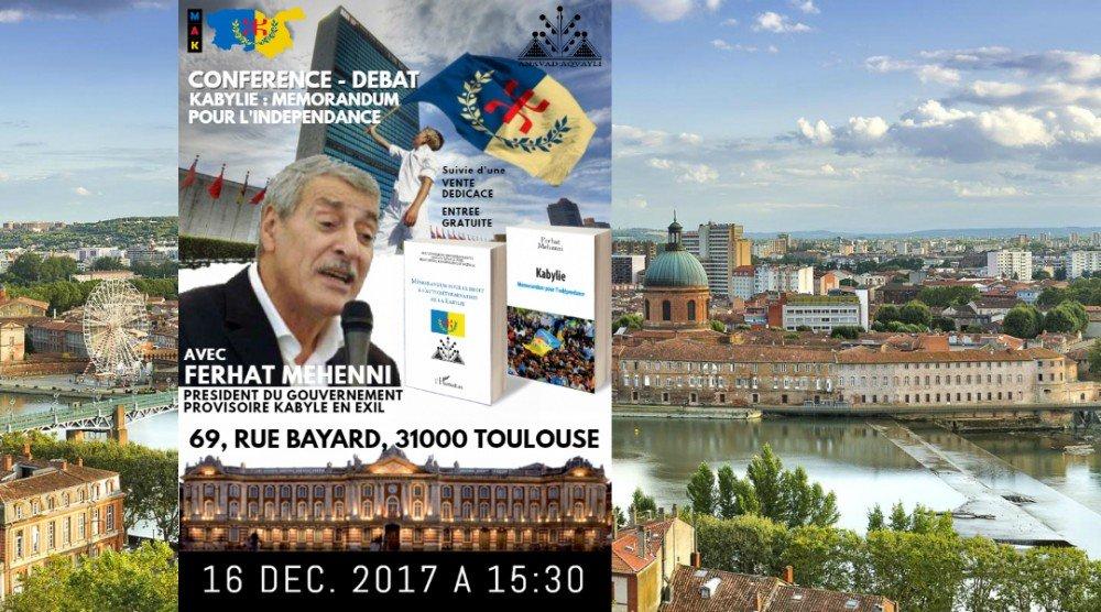 Conférence-débat de Ferhat Mehenni à Toulouse le 16 décembre