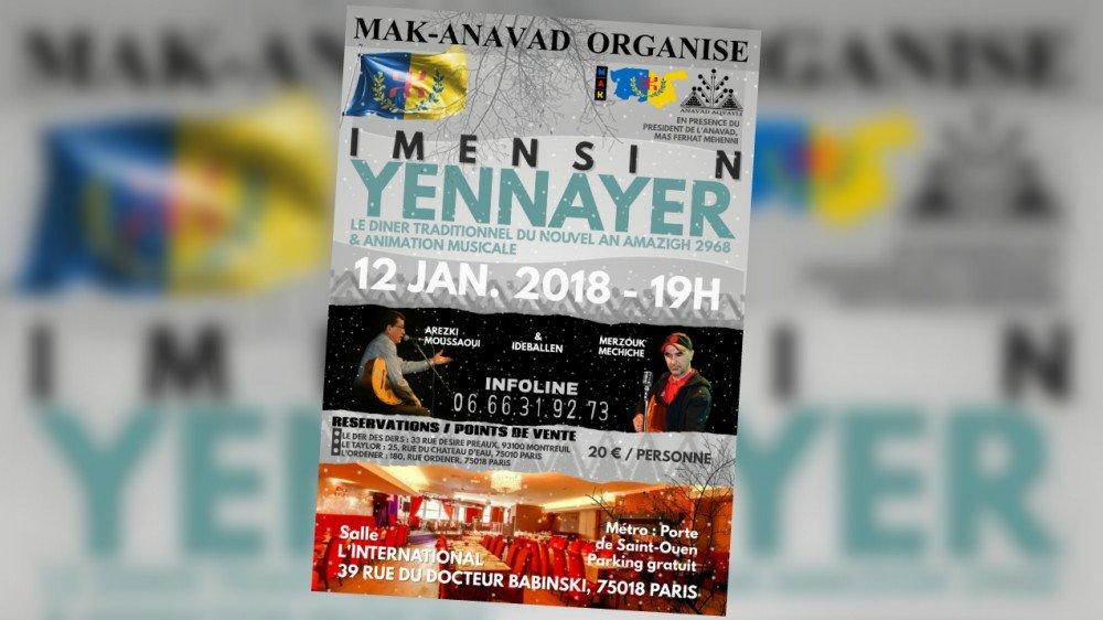 Diaspora : Imensi n Yennayer 2968 le 12 Janvier à Paris