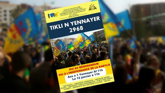 Le MAK-Anavad appelle aux Marches de Yennayer 2968 pour l'indépendance de la Kabylie