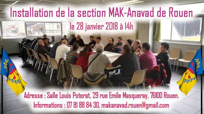 MAK-Anavad : Installation officielle de la section de Rouen ce dimanche 28 janvier