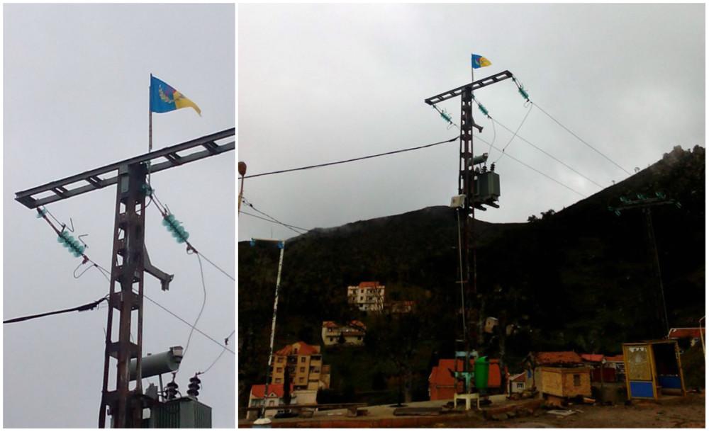 Illulen Umalu : Le drapeau kabyle levé sur une barre paratonnerre