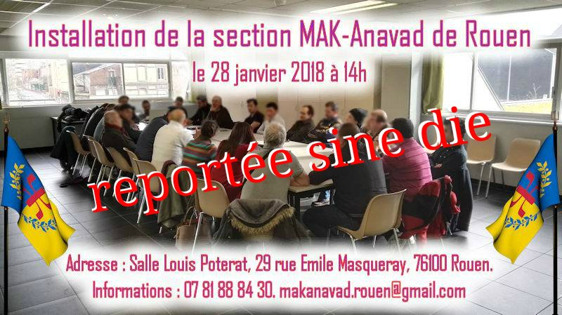 Report sine die de l'installation de la section MAK-Anavad de Rouen
