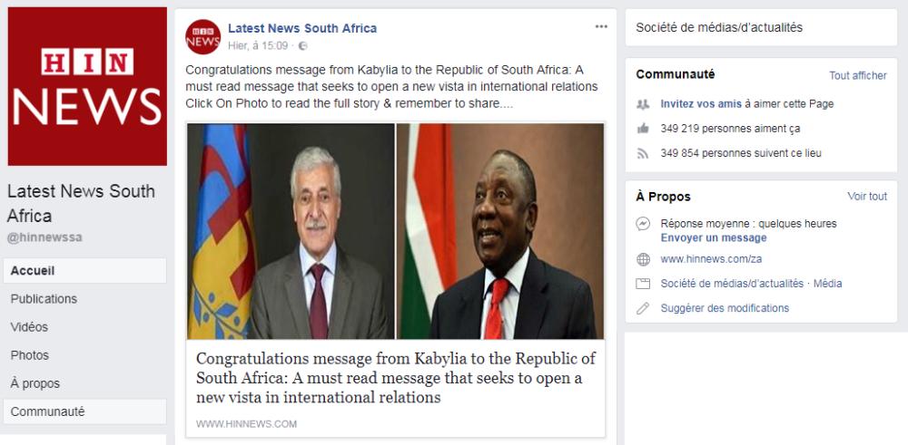 Diplomatie : La lettre de félicitations de la Kabylie au président sud africain reprise par un journal à forte audience en Afrique du Sud