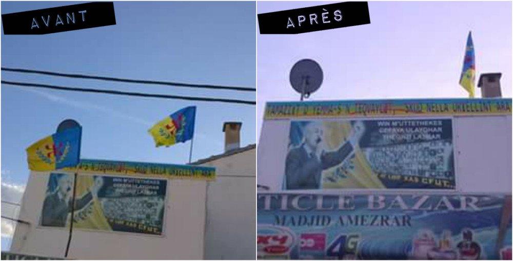 Les gendarmes coloniaux algériens arrachent l'un des deux drapeaux kabyles flottant à Saharidj