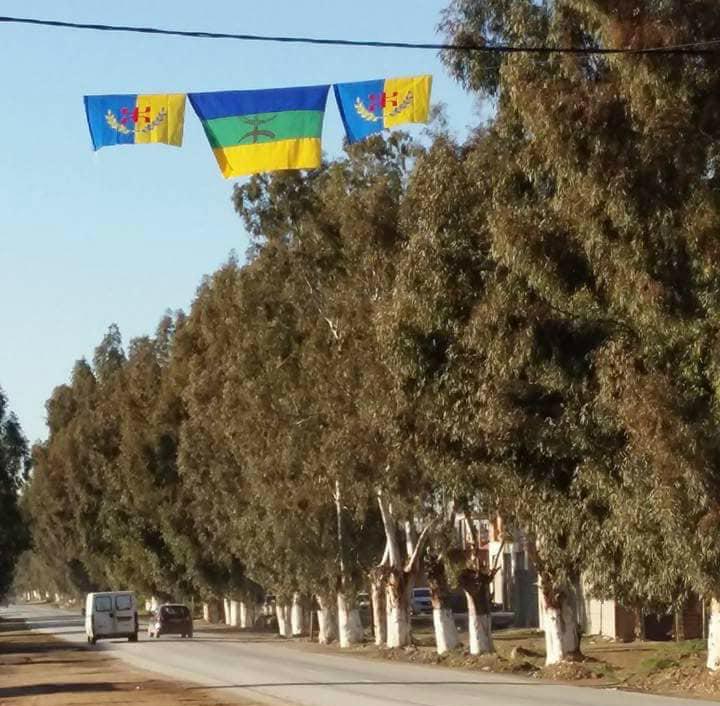 Village Colonel Amirouche : Drapeaux kabyles arrachés par les gendarmes coloniaux algériens