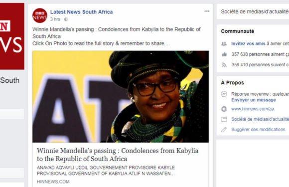 Diplomatie : Le message de condoléances de la Kabylie à Winnie Mandela repris par un journal à forte audience en Afrique du Sud