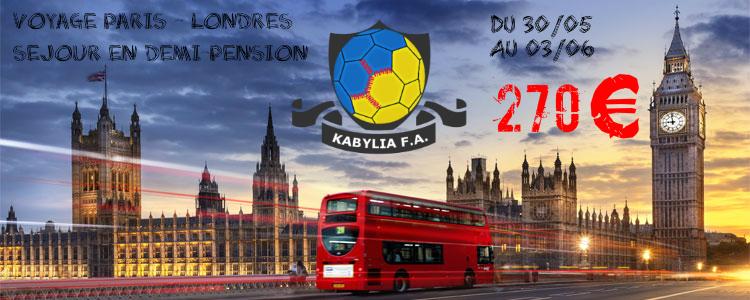Voyage Paris-Londres Tout-inclus pour supporter l'équipe nationale kabyle de football
