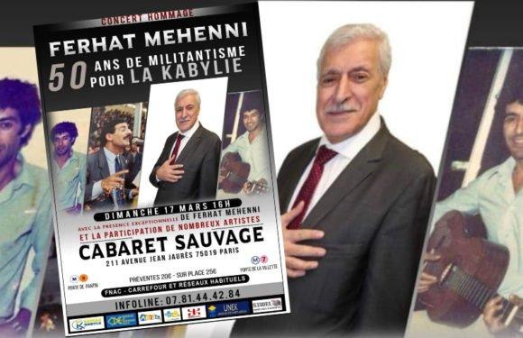 50 ans de militantisme pour la Kabylie : Concert-événement en hommage à Ferhat Mehenni, le 17 mars 2019
