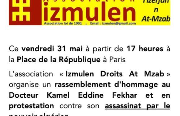 La ligue kabyle des droits humains, appelle au rassemblement initié par l'association Izemulen à Paris