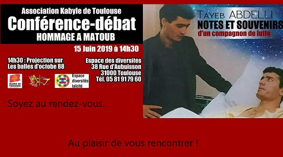 L'Association Kabyle de Toulouse organise un hommage au grand chanteur engagéMatoubLounes