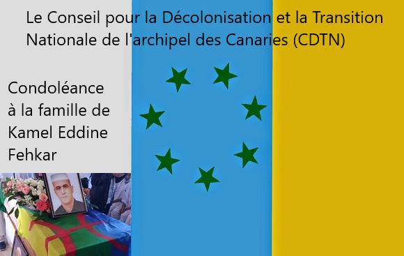 Assassinat du militant mozabite Kamel EddineFehkar, condoléances du Conseil pour la décolonisation et la transition nationale de l'archipel des Canaries