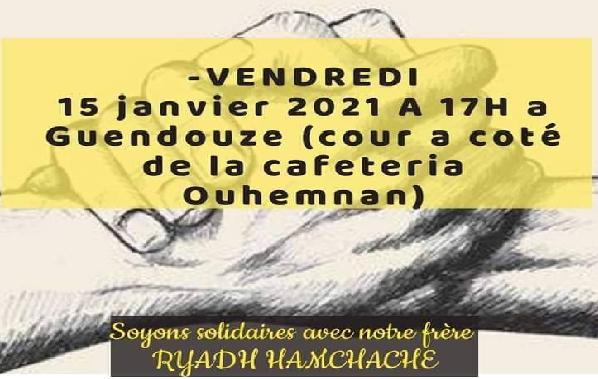 RASSEMBLEMENT À GUENDOUZE POUR SOUTENIR RYADH HAMCHACHE
