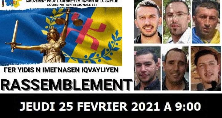 RASSEMBLEMENT JEUDI 25 FÉVRIER 2021 DEVANT LE TRIBUNAL DE VGAYET À PARTIR DE 09H00