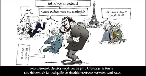 MOUVEMENT DOUBLE RUPTURE SE FAIT TABASSER À PARIS, EN DEHORS DE LA KABYLIE LA DOUBLE RUPTURE EST TRÈS MAL VUE