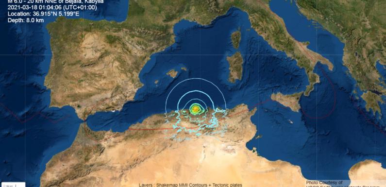 Kabylie : Séisme peu profond et de magnitude 6 au large de Vgayet suivi de 2 répliques (USGS & EMSC)