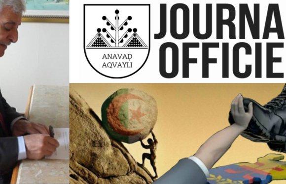 Paru au Journal Officiel de la Kabylie : Décret portant classification de l'État algérien en tant qu'État colonial illégitime