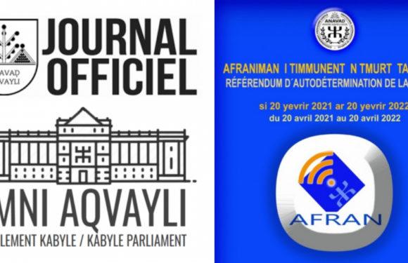 Le président de l'Anavad promulgue la loi portant référendum d'autodétermination du peuple kabyle