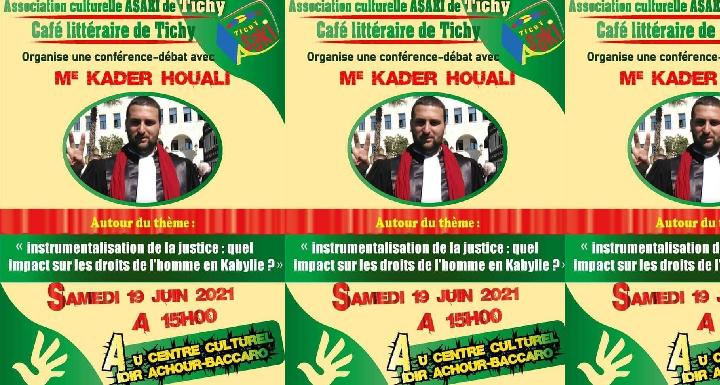 DECLARATION DE MAITRE KADER HOUALI SUITE A L'INTERDICTION DE SA CONFÉRENCE À TICHY