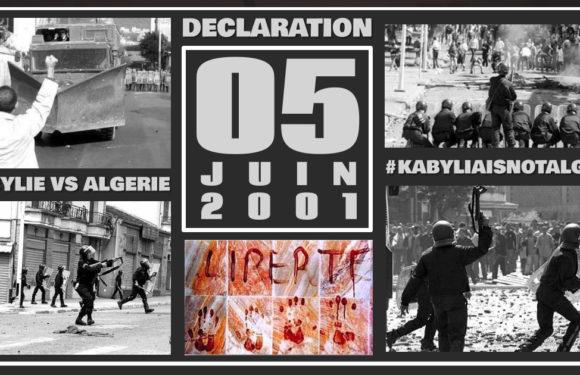 DÉCLARATION DU 05 JUIN 2001 : 20 ANS JOUR POUR JOUR