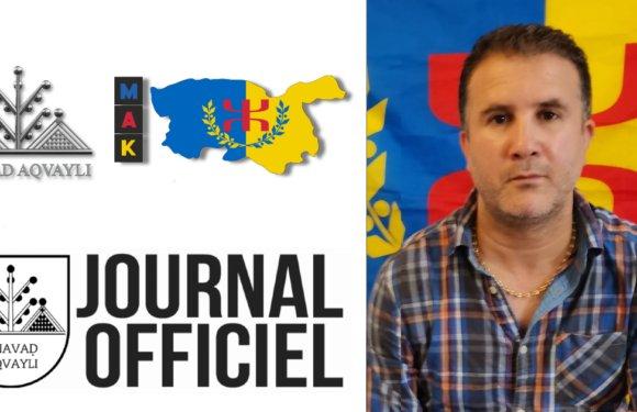 Paru au Journal Officiel de la Kabylie : Décret portant nomination des membres de la Commission de soutien aux détenus
