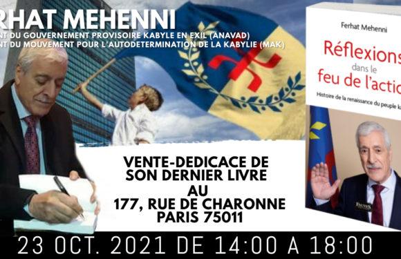 SAMEDI 23 OCTOBRE : VENTE-DEDICACE DU LIVRE DU PRESIDENT FERHAT MEHENNI A PARIS